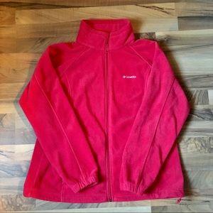 COLUMBIA Red Fleece Sweatshirt Jacket Zip Up 1x